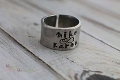 Personalized Ring - Custom Hand Stamped Jewelry - Pewter Ring with Couples Names - Heart, Infinity - Fits Size 10-13