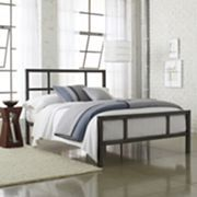 JCPenny - Spencer bed - includes headboard, footboard and rails  sturdy square-metal tubing  gray black with dark brushed finish  Metal/plywood slats. Assembly required. Around Fivehundred thirty some.