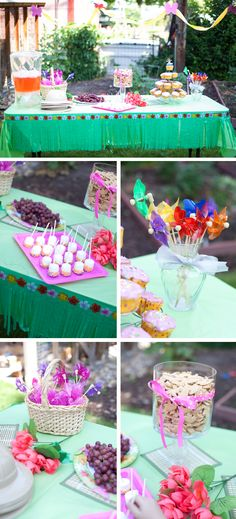 Dora the Explorer 4th Birthday Party {Party Ideas} - Cute food display idea with the explorer hats & yummy treats