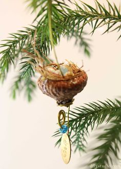 Miniature fairy garden acorn bird's nest by DragonflyStudioArts, $6.99