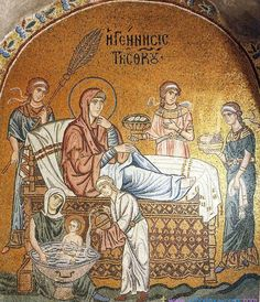 Stunning ancient mosaic of the Nativity of the MostHoly Mother of God, The MostHoly Glorious Lady Theotokos and EverVirgin Mary -- Religious Images, Religious Art, Medieval, Art Through The Ages, Les Religions, Byzantine Art, Blessed Virgin Mary, Orthodox Icons, Aboriginal Art