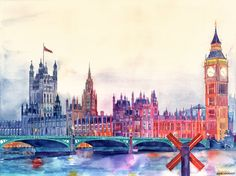 This is my newest watercolor of London river's bank. I created a speed painting of it, so you can watch it on YouTube: SPEED PAINTING ON YOUTUBE     I've created a lot of work in progress...