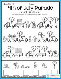 Get the Fourth of July excitement going with this holiday themed counting worksheet for kindergarten. Please check out the entire set of 30 July counting worksheets. I'm sure you'll like them. :) Counting Worksheets For Kindergarten, Summer Worksheets, Graphing Worksheets, Alphabet Tracing Worksheets, Tracing Letters, Upper And Lowercase Letters, Lower Case Letters, 4th Of July Parade, Fourth Of July