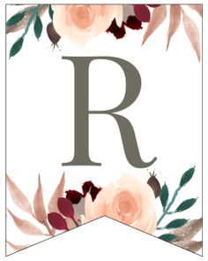 Letter R Fall Floral Alphabet Banner Letter Free Printable. Customize a banner for your fall home decor, a birthday, wedding, or baby shower. New Year Banner, Fall Banner, Floral Banners, Floral Letters, Free Printable Banner Letters, Alphabet, Preschool Art Activities, Bullet Journal Lettering Ideas, Paper Trail