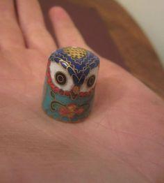 Rare Handmade Antique Cloisonne Enamel & Brass Owl Sewing Thimble