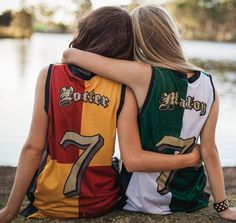 "Harry Potter & Draco Malfoy jerseys Too bad it wouldn't work for me..I'm a Slytherin my other friends are Slytherin, (unofficialy) Hufflepuff , and ""hate Harry Potter"" pft...whatever. Maybe ""Malfoy, Goyle, and Diggory?"