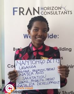 Betty is from Uganda and after participating in the Youth Forum she has chosen providing basic water and sanitation to everyone as her top priority for the post-2015 development agenda.