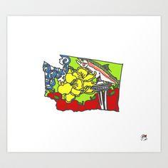 Washington State Print Art Print by Wholeheart Art - $20.00