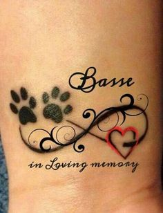In loving memory of my sweetheart Basse. RUHE IN FRIEDEN. In liebevoller Erinnerung an meinen Schatz Basse. The post RUHE IN FRIEDEN. In liebevoller Erinnerung an meinen Schatz Basse. & Fantasy appeared first on Tattoo ideas . Infinity Tattoos, Wrist Tattoos, Dog Tattoos, Animal Tattoos, Body Art Tattoos, Pet Memory Tattoos, Tatoos, Pet Tattoo Ideas, In Loving Memory Tattoos