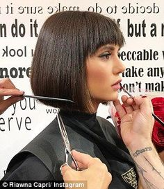 Getting into character: Nina Dobrev, cut her long bob even shorter and added bangs for her role in the upcoming film Lucky Day Bob Hairstyles For Fine Hair, Layered Bob Hairstyles, My Hairstyle, Trendy Hairstyles, Teenage Hairstyles, Blunt Bob With Bangs, Bob Haircut With Bangs, Short Bangs, Bob Bangs