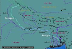 Route map of Ganges River, an important and sacred river ...