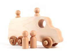 organic school bus - natural wooden waldorf toy, classic hardwood with homegrown organic finish for toddler, preschooler. $33.00, via Etsy.