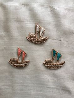 Little Boat Golden Embroidery Applique,Handmade Indian Zari Zardozi Gold Patch,Cutwork Yacht Applique,Quirky Dress Patch,2 pcs,4X4 cm by IndianCraftSafari on Etsy