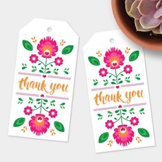 """Say, """"thank you,"""" with these cute fiesta flowers gift tags!"""