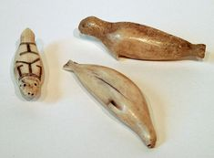 Apologia Swimming Creatures (Lesson 3) Seals carved from walrus ivory (Inuit art)