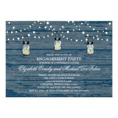 Engagement Party Rustic Wood Mason Jar and Lights Card