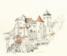 Salvagnac-Cajarc, Aveyron, France | by Linda Vanysacker - Van den Mooter Watercolor Architecture, Architecture Art, Watercolor Sketch, Watercolor Paintings, Drawing Sketches, Art Drawings, Landscape Drawings, Urban Sketching, Art Sketchbook