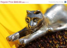 Big Sale Now Vintage 925 Sterling Silver 3D Cat by Yourgreatfinds, $71.99