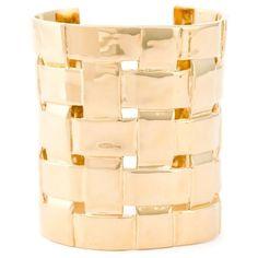 Aurelie Bidermann Marella Cuff featuring polyvore, fashion, jewelry, bracelets, metallic, adjustable bangle, aurélie bidermann, gold plated bangles, gold plated jewelry and fine jewellery