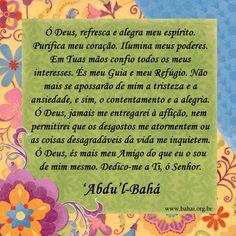 Oração Bahá'í - Qualidades Espirituais - www.bahai.org.br Contentment, Spiritism, Dios