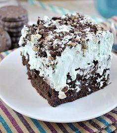 Better Than Thin Mints Grasshopper Poke Cake