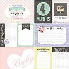 4 meses viejo Baby Girl revista Cards. Scrapbooking digital.