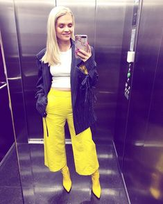 Elevator, Outfit Of The Day, Stripes, Yellow, My Style, Sexy, Pants, Instagram, Fashion