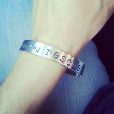 """Wearing our soon to be available """"keep #calm and #rescue on #bracelet."""