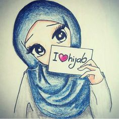 This scarf is the most important piece from the attire of girls having hijab. Given it is central to the addi Girl Cartoon, Cartoon Art, Cute Cartoon, Niqab, Hijab Drawing, Islamic Cartoon, Girly M, Anime Muslim, Hijab Cartoon