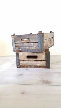 SOLD ~ Wood Crate ~$95.00 Dairy Milk Crate, Tower City, PA. Antique Wooden Milk Crate / Rustic Wedding Decor / Vintage Wood And Metal Crate