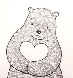Bear with Heart Ink Drawing Print Bear Illustration Black & White Nursery Art Wall Decor Woodland Lo Bird Drawings, Love Drawings, Easy Drawings, Black White Nursery, Black White Art, Bear Drawing, Fox Print, Love Illustration, Nursery Wall Art