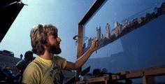 Future director James Cameron working on a matte painting of the Manhattan skyline during the making of Escape from New York Manhattan Skyline, New York Skyline, Science Fiction, Star Wars History, Roger Corman, James Cameron, Iconic Movies, Matte Painting