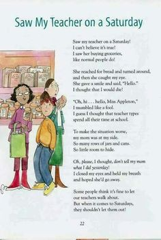 """Children's Poet Laureate Kenn Nesbitt has asked a few of us to upload four of our poems over four (or so) days. This one is dedicated to teachers, from my book, """"Reading, Rhyming, and 'Rithmetic"""" (Boyds MIlls Press). Teacher Quotes, Teacher Humor, My Teacher, Teacher Tired, Teacher Morale, English Classroom, Classroom Language, Funny Poems, Funny Quotes"""