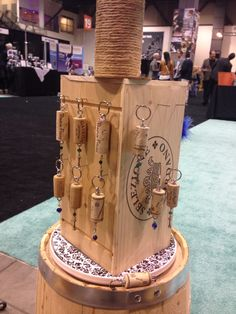 Wine box tower. These display out cork keychains.