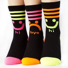 FLUORESCENCE HI BYE SOCKS 3PAIRS=1PACK Made in KOREA women woman girl big kids #COLORMIX #allStyle