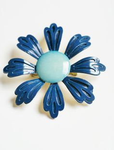 Large Mid Century Blue Vintage Enamel by PuddinRidgeCreations