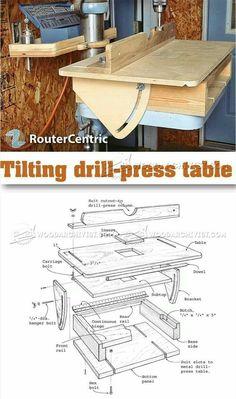 Tilting Drill Press Table - Drill Press Tips, Jigs and Fixtures… Woodworking Drill Press, Woodworking Jigs, Woodworking Projects, Furniture Projects, Wood Projects, Wood Jig, Drill Press Table, Diy Shops, Garage Tools