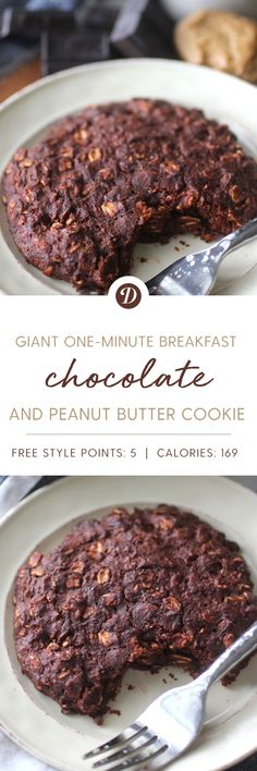 Giant One Minute Chocolate Peanut Butter Breakfast Cookie