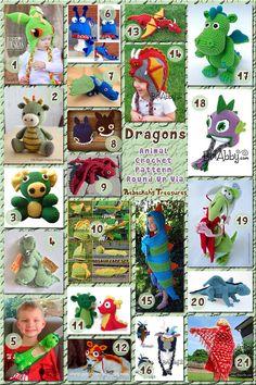 Dragons - Animal Crochet Pattern Round Up via - Viewiele Crochet Round, Cute Crochet, Crochet For Kids, Crochet Toys Patterns, Amigurumi Patterns, Crochet Dolls, Crochet Dinosaur, Crochet Dragon, Sewing Toys