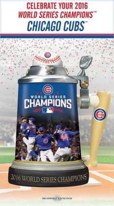 """Raise a toast to your 2016 World Series Champions, the Chicago Cubs! This commemorative porcelain stein showcases exciting game images, a """"bat"""" handle, a """"ball"""" topper and is loaded with iconic Cubs logos and colors. Offered in a strict limited edition of 10,800, to honor the Cubs breaking of the 108-year World Series streak."""