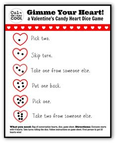 A Valentineu0027s Candy Heart Dice Game!! | CULDESACCOOL.