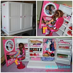 Instead of using the vanity just the Wardrobe saying about all types of Barbie stuff and keep it organized so its not cluttered