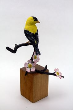 American Goldfinch Bird Wood Carving Hand Carved by Mike Berlin