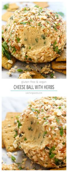 Ball with Herbs This Vegan Cheese Ball recipe with Herbs is a make-ahead party appetizer that is sure to please a crowd! It is rich, creamy, spreadable, and full of fresh herb flavor. Vegan Cheese Ball Recipe, Vegan Cheese Recipes, Cheese Ball Recipes, Vegan Foods, Vegan Dishes, Vegetarian Recipes, Vegan Apps, Vegan Lunches, Herb Recipes