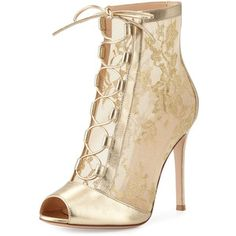 Gianvito Rossi Chantilly Lace Tie-Front Bootie