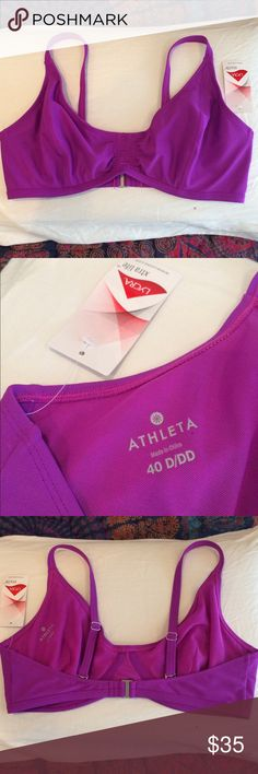 NWT! Athleta Convertable Bralette Bikini Never worn! Smocked front bralette style bathing suit top. Features adjustable straps for bra style or X-straps. Underwire offers lift and support. Fuchsia color. 40D/DD (or XL). Athleta Swim Bikinis