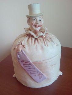 Rare Antique BERNARD BLOCH Ceramic Tobacco Jar Humidor Man Figural