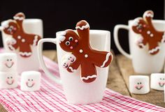 Gingerbread Men Coffee Cup Cookies thebearfootbaker.com with help from semisweet handcrafted sweet treats