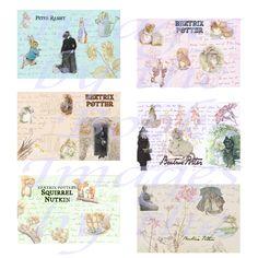 Supplies,printables,downloadable,scrapbook,postcard,illustrations,beatrix,potter,peter rabbit,squirrel nutkin,jeremy fisher,mrs tittlemouse,collage,ephemera