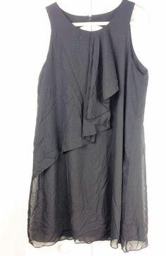 Worthington Sleeveless Ruffle-Front Shift Dress Black Sz Large #WorthingtonIndustries #Shift